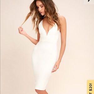 Lulu's Gracefully Yours White Midi Dress